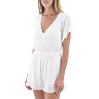Molly Bracken Combi-short Blanc Taille Haute Dos Nu N91p20
