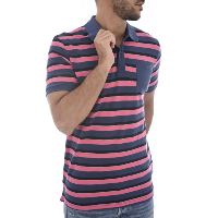 Jack & Jones Polo Rose En Coton Stripe À Rayures