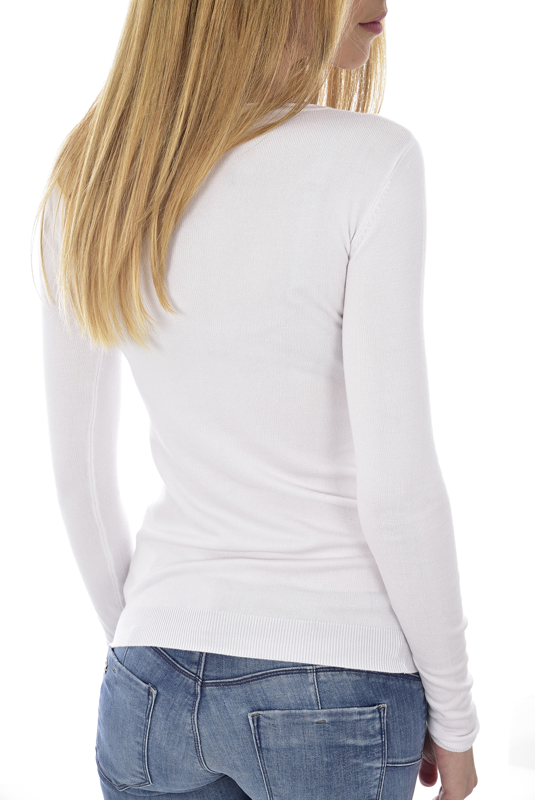 GUESS JEANS W92R59 PULL FIN BLANC FEMME