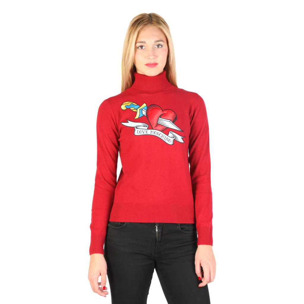 LOVE MOSCHINO PULL ROUGE A COL ROULÉ FEMME
