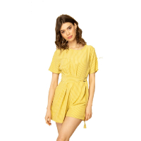 Jayloucy Combishort Jaune Rayures Manches Courtes