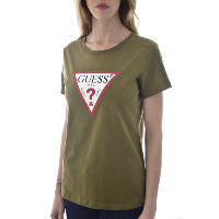 GUESS JEANS - TEE-SHIRT TRIANGLE VERT MANCHES COURTES POUR FEMME