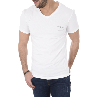 Guess Tee-shirt Blanc Stretch Uni U77m13 Homme